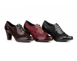 Zapatos Mujer Ingles Piel Charol Cordones Tacón JAM-5581 49,00€