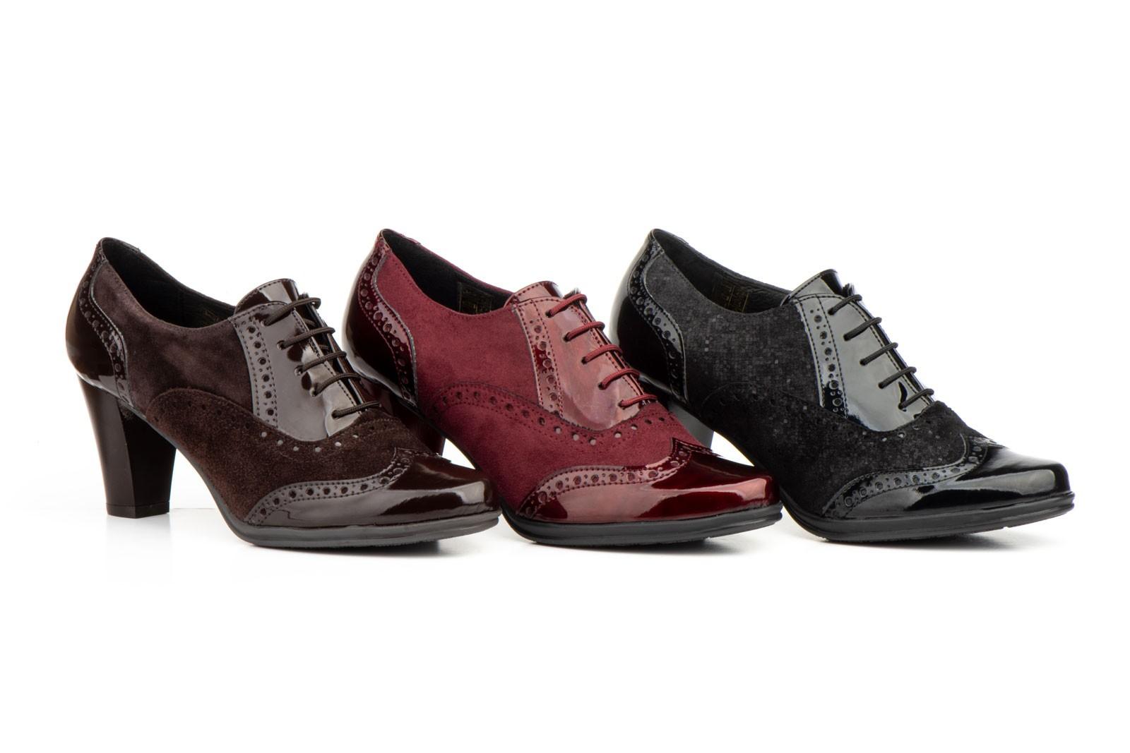 3defda57 Zapatos Mujer Ingles Piel Charol Cordones Tacón JAM-5581 49,00 €
