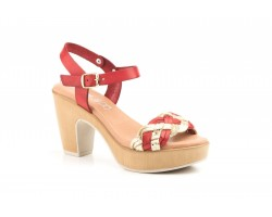 Women Sandals Red Skin Platinum Platform Heel Buckle JAM JAM-203744,90 €