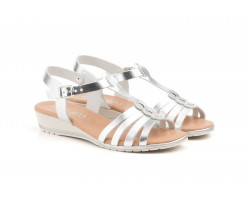 Sandals Women Silver Leather Wedge Gel JAM JAM-104039,90 €