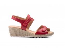 Sandalias Mujer Piel Rojo Velcro Yute JAM JAM-3454 35,00€