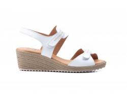 Sandalias Mujer Piel Blanco Velcro Yute JAM JAM-3454 35,00€