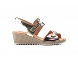 Sandalias Mujer Piel Platino Bronce Plomo Velcro Yute JAM JAM-3454 35,00€