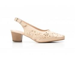 Zapatos Mujer Piel Beige Lasér Tacón Ancho Kamatic KAMATIC-A4002L 39,90€