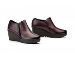 Zapatos Abotinados de Mujer con Cremallera Piel Marrón JAM-9006 49,90€