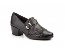 Zapatos Mujer Piel Negro Lycra Serpiente Tacón JAM-540039,90€