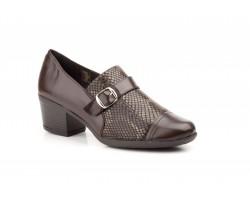 Zapatos Mujer Piel Marrón Lycra Serpiente Tacón JAM-5400 39,90€