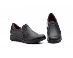 Zapatos Mujer Piel Negro Cremallera Cuña Morxiva MX-950 39,90€