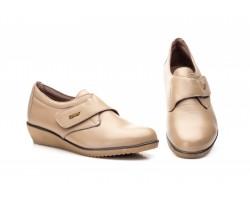 Zapatos Mujer Piel Taupe Velcro JAM AE-391