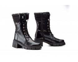 Botas Militares Mujer Piel Negro Cordones Iberico JAM-579059,50€