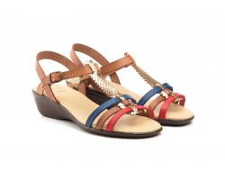 Sandals Women Leather Multi Color Wedge Buckle 419-MULTI39,90 €