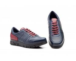 Zapatos Casual Hombre Piel Marino Rojo Cordones Keelan KL-3874 59,50€