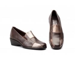 copy of Zapatos cómodos mujer en piel negra y plata con cuña BN-541144,90€