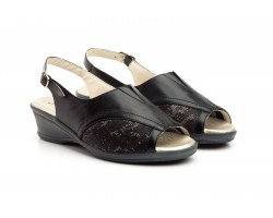 Women's Shoes Black Leather Lycra Wide Wedge Special JAM JAM-680259,90 €