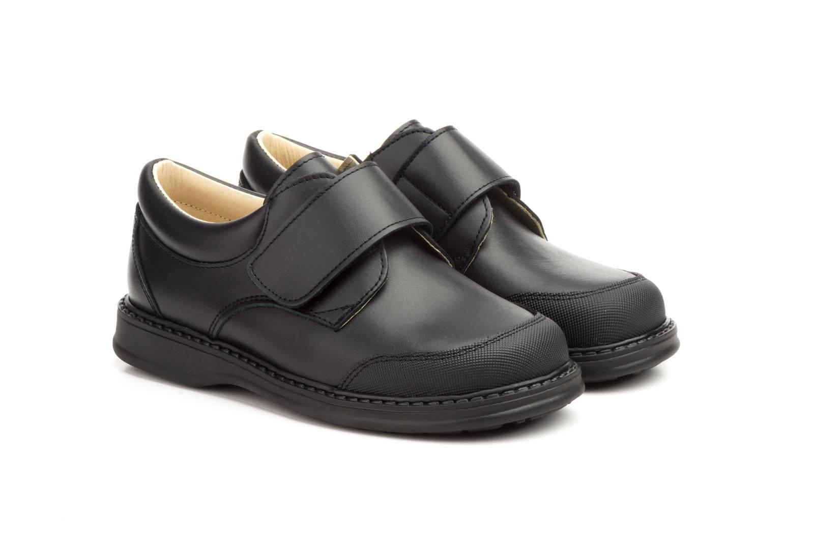 Zapatos Colegial Niño Piel Negro Cierre Velcro SERNA-1012 44,90€